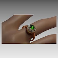 Cat's Eye Demantoid Garnet and Diamond Cluster Ring