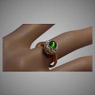 Cat's Eye Demantoid Garnet and Diamond Cluster Ring