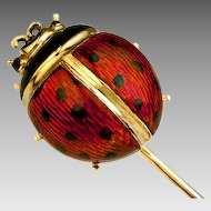 Antique Enamel and 14K Gold Ladybug Stick Pin