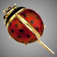 Antique Enamel and 14K Gold Ladybug Stick Pin