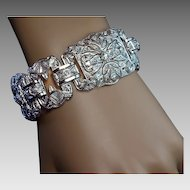 Art Deco Platinum Diamond Wide Bracelet