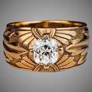 Early 1900s Russian 1 ct Diamond Solitaire Antique 14K Gold Wide Band Ring