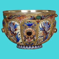Antique Cloisonne Enamel Gilded Silver Bowl