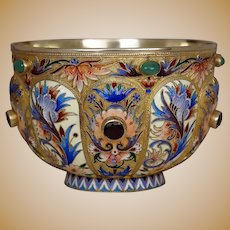 Antique Cloisonne Enamel Gilded Silver Bowl