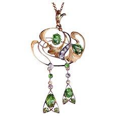 Art Nouveau Demantoid Diamond Pendant Necklace