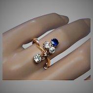 Antique Art Nouveau Sapphire and Diamond Flower Ring