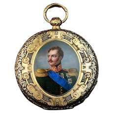 Antique Gold Pocket Watch Enamel Miniature of Russian Tsar