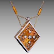 Magnificent Antique Russian Enameled 14K Gold Diamond Locket Necklace