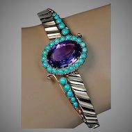 Antique Victorian Amethyst, Turquoise, 14K Gold Bangle Bracelet