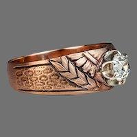 Antique Solitaire Diamond Art Nouveau Men's Ring