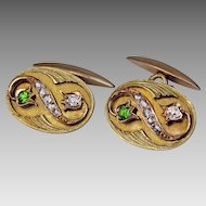Art Nouveau Russian Diamond and Demantoid 14K Gold Cufflinks
