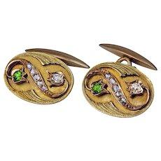 Art Nouveau Russian Diamond and Demantoid 14K Gold Cufflinks