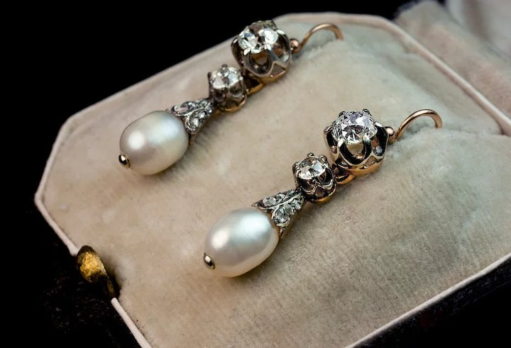 Antique Natural Pearl And Diamond Drop Earrings