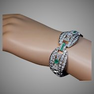 Art Deco Diamond Emerald Openwork Platinum Bracelet