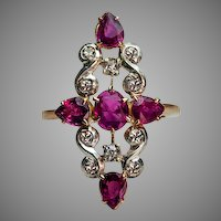 Vintage Art Deco Ruby and Diamond Ring 1920s