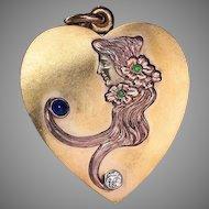 Art Nouveau Antique Heart Shaped Sliding Gold Locket with Diamond Sapphire Demantoids