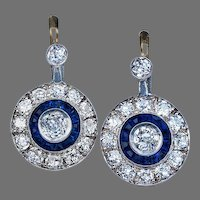 Original Art Deco 4.60 ct Diamond and Sapphire Earrings