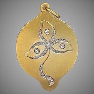 Antique Art Nouveau Diamond and 14K Gold Locket Pendant