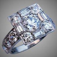 Art Deco Vintage 4 Ct Diamond Platinum Engagement Ring