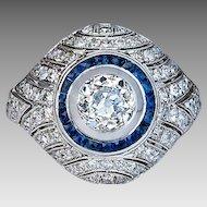 Vintage Art Deco Diamond Sapphire Ring