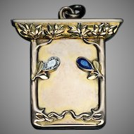 Art Nouveau Diamond Sapphire 14K Gold Locket Pendant by Bolin