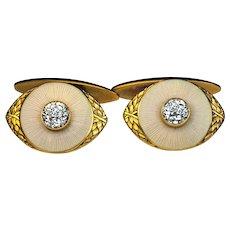 Vintage 14K Gold Guilloche Enamel Diamond Russian Cufflinks by Marshak Men's Jewelry Early 1900s