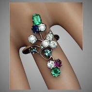 Antique Art Nouveau Gemstone Flower Ring, Diamond Emerald Sapphire Ruby Alexandrite