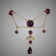 Antique Edwardian Almandine Garnet and 14K Gold Necklace - Early 1900s Jewelry