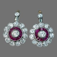 Antique Edwardian / Early Art Deco Diamond and Ruby Cluster Earrings