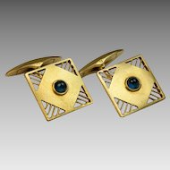 Early Art Deco Cabochon Sapphire and 14K Gold Cufflinks