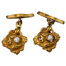 Antique Art Nouveau Diamond and 18K Gold Cufflinks c. 1900 - Vintage Men's Jewelry