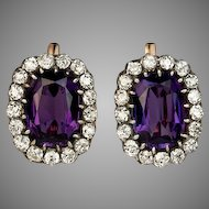 Large Antique Amethyst and Diamond Cluster Earrings