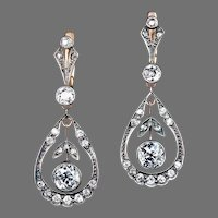 Antique Drop Shaped Openwork Diamond Dangle Earrings Silver over 14K Gold
