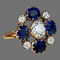 Russian Imperial Era Antique Sapphire Diamond Cluster Ring