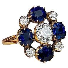 Russian Imperial Era Antique Sapphire Diamond Cluster Ring