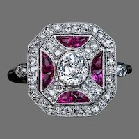 Vintage Art Deco Ruby Diamond Platinum Ring