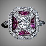 Vintage Art Deco Ruby Diamond Platinum Ring
