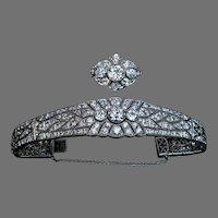 Magnificent Vintage Art Deco 16 ctw Diamond Platinum Bracelet and Ring