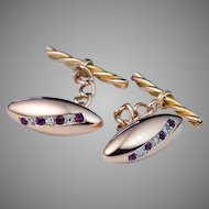 Antique Russian Ruby Diamond 14K Rose Gold Cufflinks