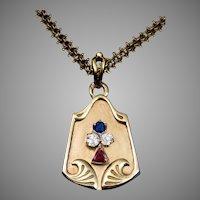 Antique Art Nouveau Ruby Diamond Sapphire 14K Gold Locket Pendant