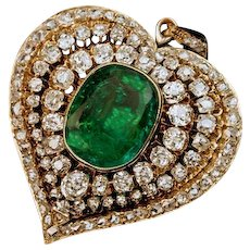 Antique Victorian Era Emerald Diamond Heart Shaped Pendant