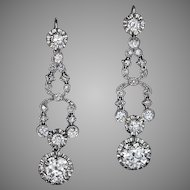Art Deco 7 Ct Diamond Platinum Long Earrings 1920s
