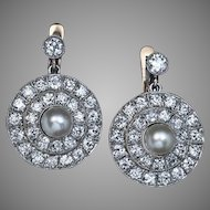 Antique Edwardian Pearl and Diamond Earrings