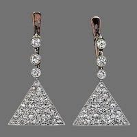 Antique Diamond Triangular Earrings, Edwardian Jewelry