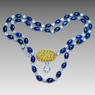 Vintage 22 Ct Sapphire 4.72 Ct Diamond Platinum Necklace