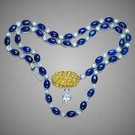 Vintage 22 Ct Sapphire 4.72 Ct Diamond Platinum Necklace