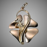Antique Art Nouveau 14K Rose Gold Clover Pendant