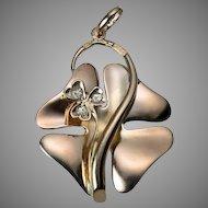 Antique Art Nouveau 14K Rose Gold Clover Pendant