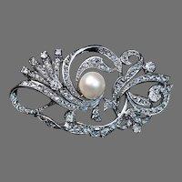 Vintage Openwork Pearl Diamond Platinum Brooch