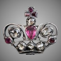 18th Century Antique Russian Jeweled Crown Badge
